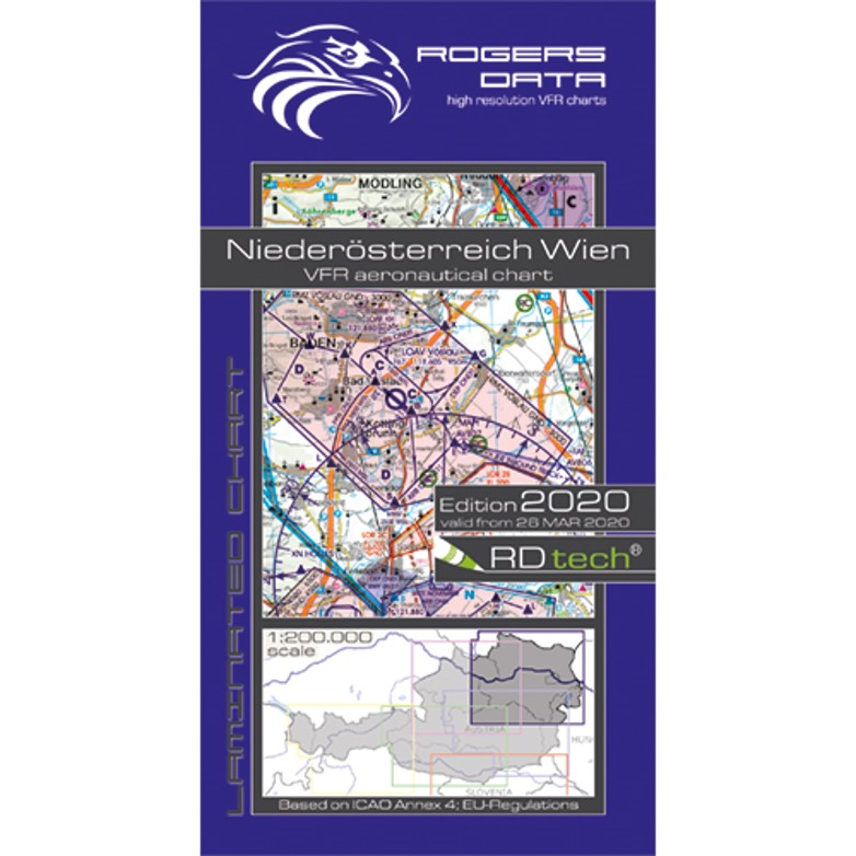 Lower Austria Vienna 500k Aeronautical VFR Chart 2020 Rogers Data