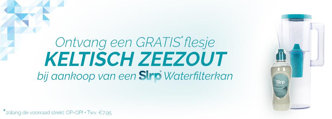 Gratis flesje keltisch zeezout ter waarde van €7,95 bij aankoop van een Slrp Waterfilterkan