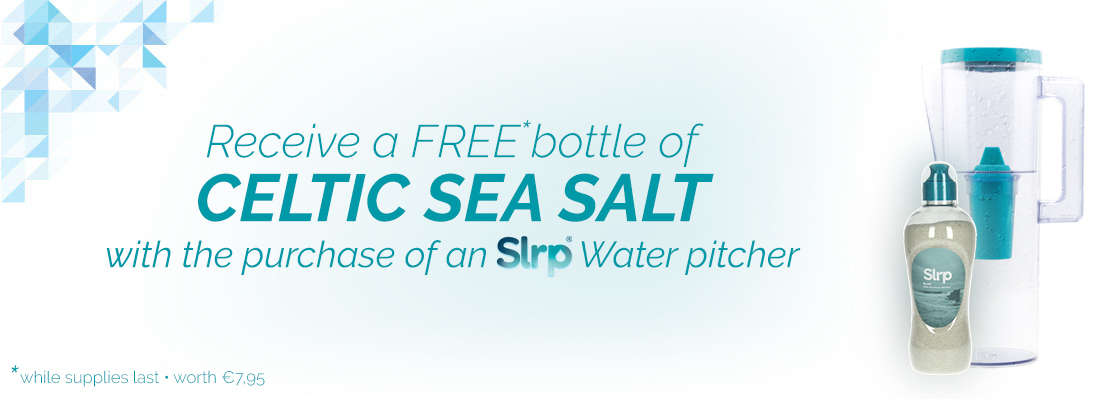 Receive a free bottle of Celtic sea salt worth €7.95 with the purchase of a water pitcher