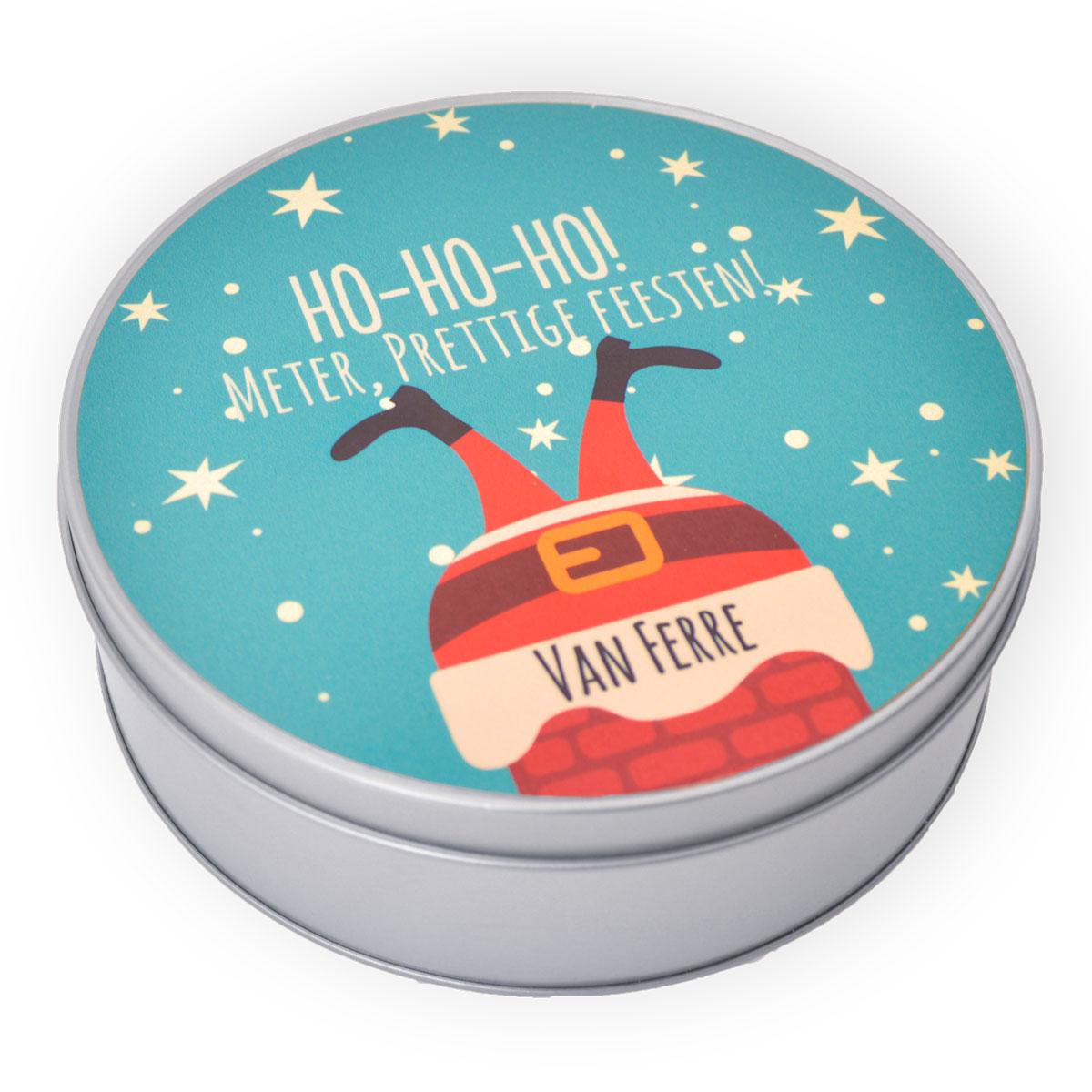 Blikken cadeau doos - gepersonaliseerde koekjestrommel rond