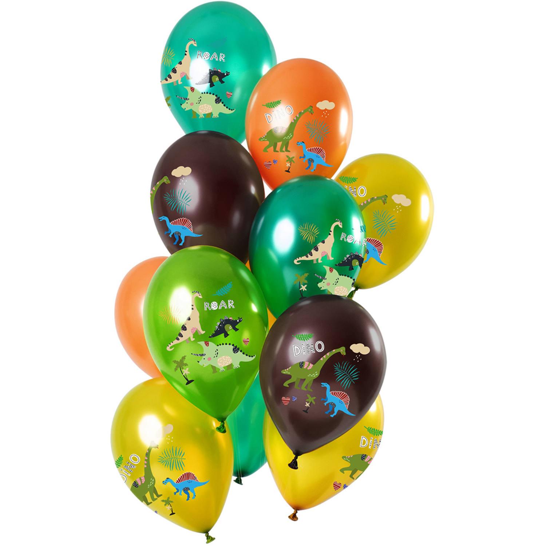 Set Van 12 Ballonnen Dino's Groen Metallic - 30cm