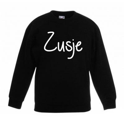 Sweater met letter - Zusje (Zwart)